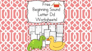 Free Beginning Sounds Letter D worksheets to help you teach the letter C and the sound it makes to preschool or kindergarten students.