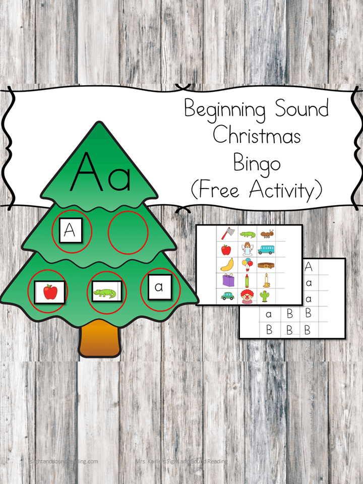 Christmas Beginning Sound Bingo Game - Help reinforce and teach the beginning sounds in preschool and kindergarten with this cute and fun Christmas Bingo game!