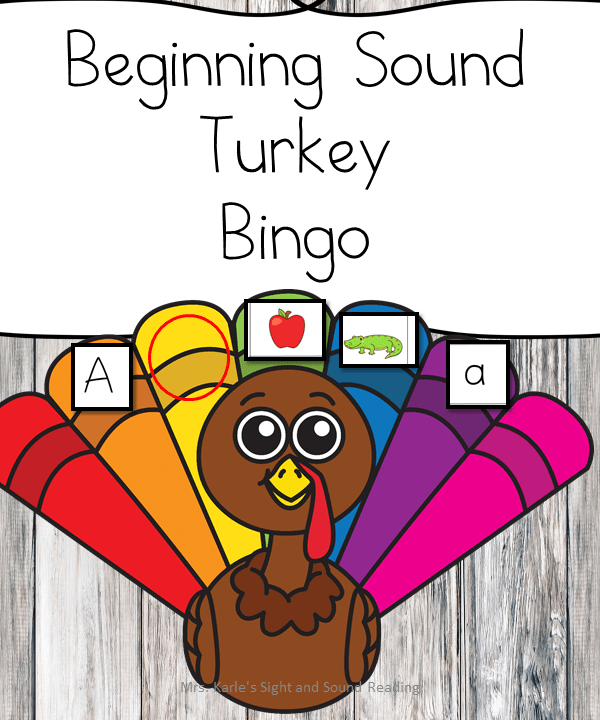 Beginning Sound Turkey Bingo Game - help reinforce sounds by playing Bingo! Great game for Kindergarten or preschool