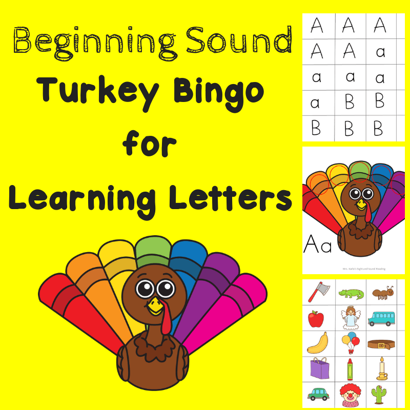 Turkey Bingo for Kindergarten