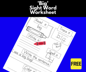 big Sight Word Worksheet