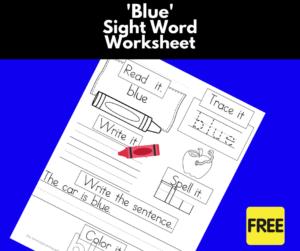 blue Sight Word Worksheet