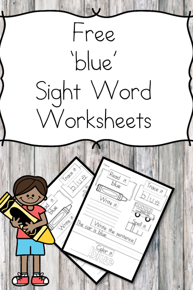 "Here is a ""blue"" sight word worksheet download. You can have a larger sight word packet that contains all of the dolch sight words."