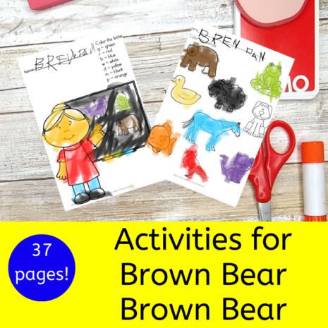 Activities for Brown Bear Brown Bear book for Kindergarten
