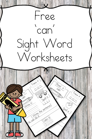 "Here is a ""can"" sight word worksheet download. You can have a larger sight word packet that contains all of the dolch sight words."