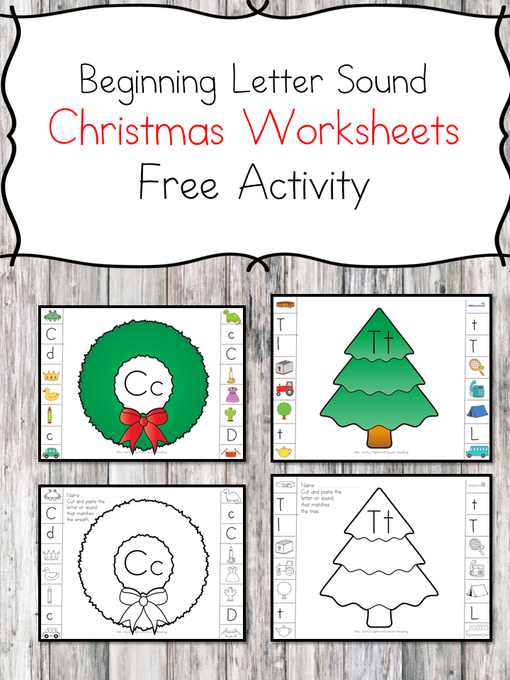 Christmas Beginning Sound Worksheets for preschool or kindergarten