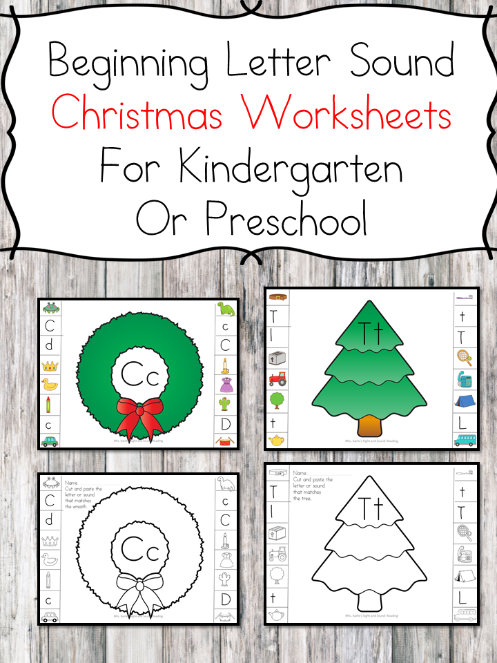 Beginning Sound Christmas Worksheets