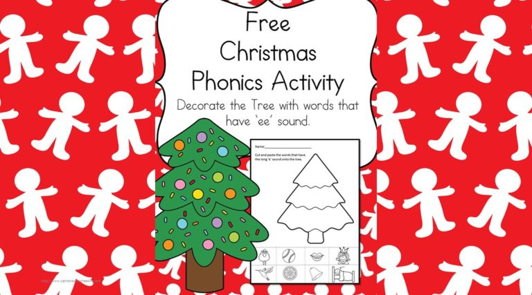 Kindergarten Worksheets:  'ee' sound Christmas tree