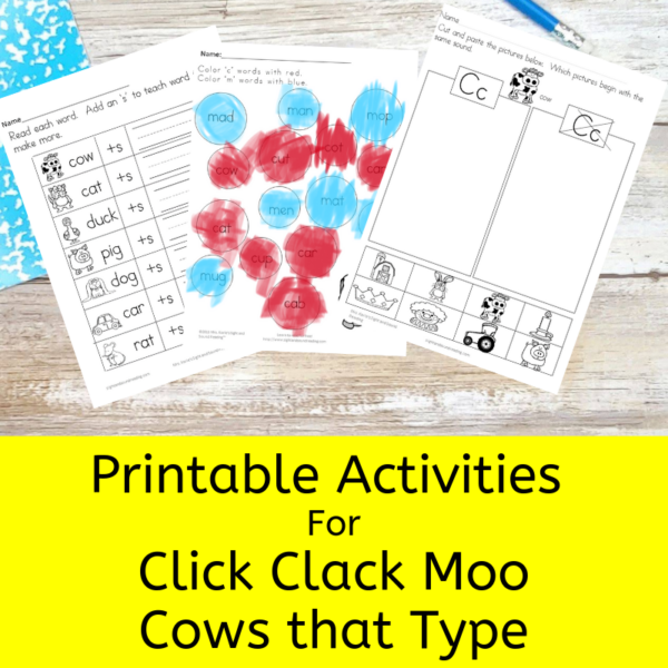 Activities for Click Clack Moo, Cows that Type