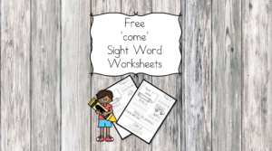 "Here is a ""Come"" sight word worksheet download. You can have a larger sight word packet that contains all of the dolch sight words."