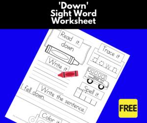 Down Sight Word Worksheet