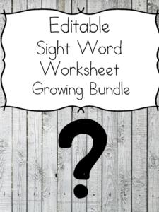 Editable Sight Word Worksheet Pack