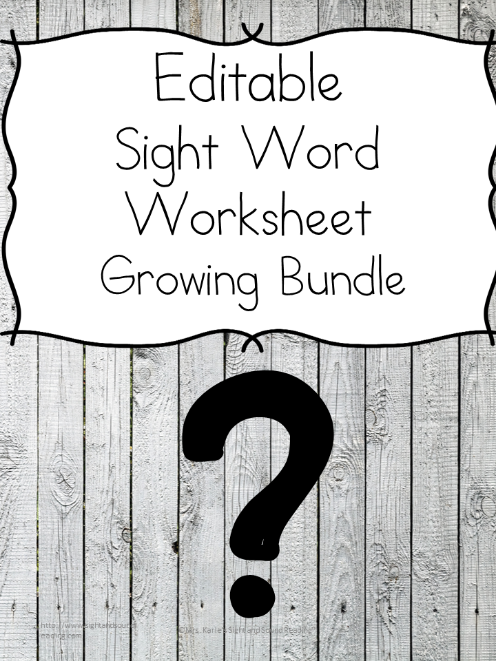 Editable Sight Word Worksheet Bundle You Decide On The Sight Words
