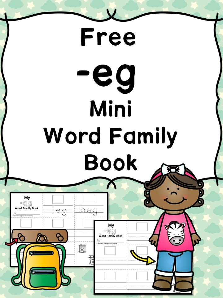 Teach the eg word family using these eg cvc word family worksheets. Students make a mini-book with different words that end in 'eg'. Cut/Paste/Tracing Fun