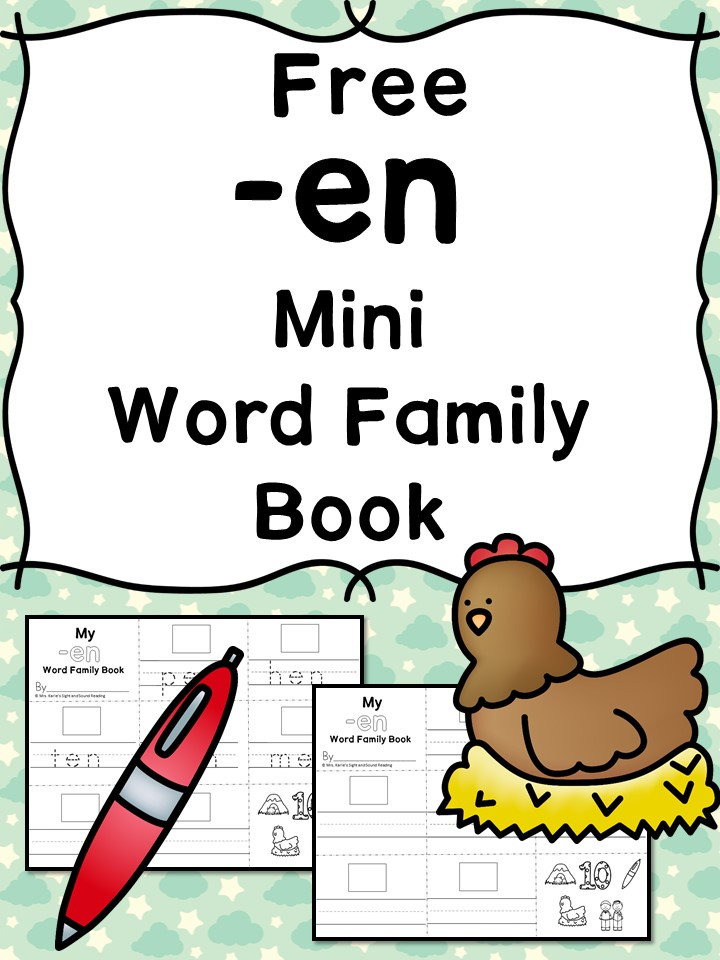 Teach the en word family using these at cvc word family worksheets. Students make a mini-book with different words that end in 'en'. Cut/Paste/Tracing Fun