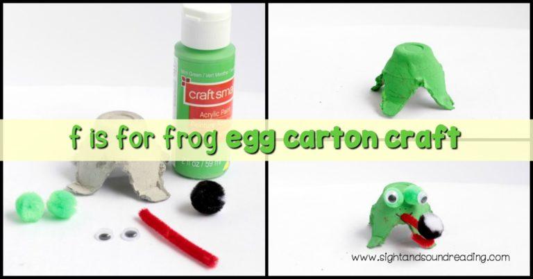 Letter F Craft: Frog Egg Carton Craft