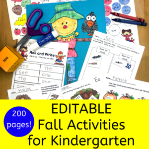 Editable Fall Activities for Kindergarten