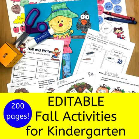 Editable Fall Activities for Kindergarten