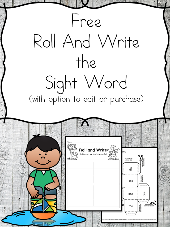 Fall Roll and Write Template! Roll the die and write the sight word that you roll. Great fun for preschool or kindergarten!