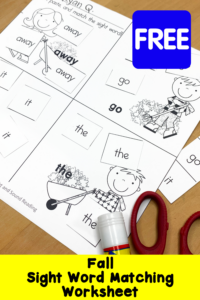 Fall Sight Word Match Worksheets (Free)