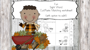 Fall Sight Word Worksheet with option to edit the sight words!