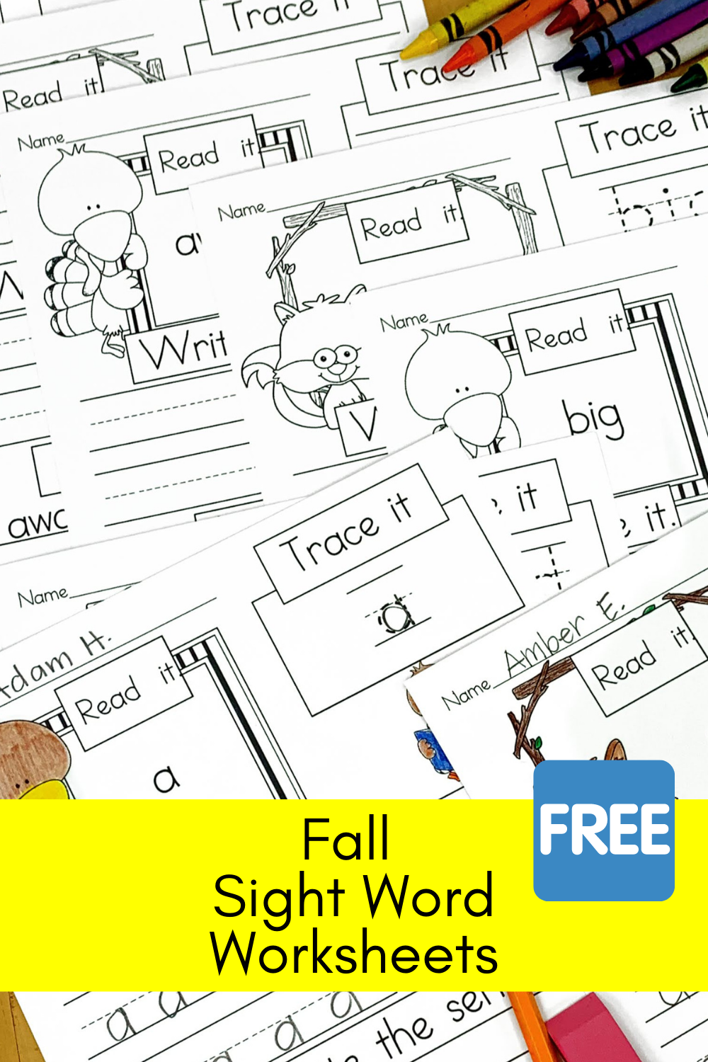 Fall Sight Word Worksheets