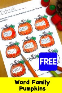 Fall Pumpkin Word Family Fun