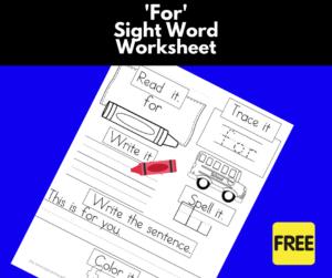 For Sight Word Worksheet (Facebook)