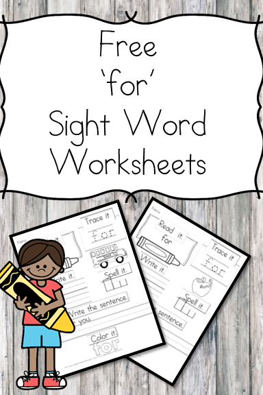 For Sight Word Worksheets -for preschool, kindergarten, or first grade - Build sight word fluency with these interactive sight word worksheets