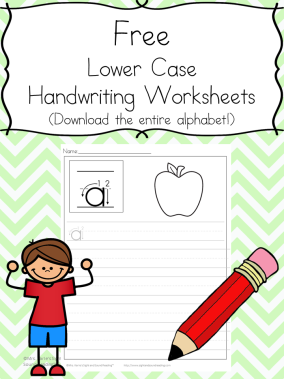 Free Handwriting Sheets: Download the entire alphabet at one time. Linked to an entire series of free handwriting worksheets. Help your child learn to write!