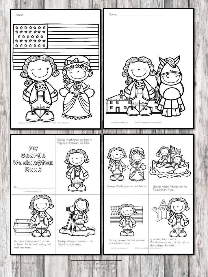 Four Free George Washington Kindergarten Worksheets