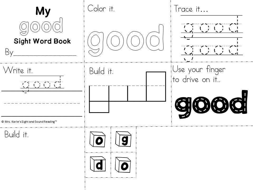 Good Sight Word Worksheets -for preschool, kindergarten, or first grade - Build sight word fluency with these interactive sight word worksheets