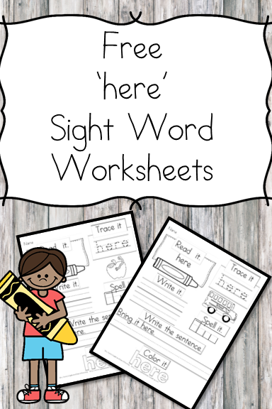 Here Sight Word Worksheets -for preschool, kindergarten, or first grade - Build sight word fluency with these interactive sight word worksheets
