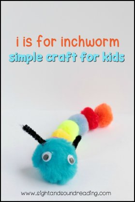 letter i craft inchworm pom pom