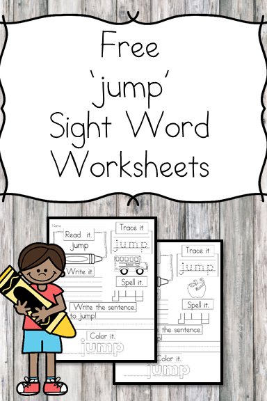 jump Sight Word Worksheets -for preschool, kindergarten, or first grade - Build sight word fluency with these interactive sight word worksheets