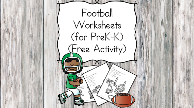 Kindergarten Football Worksheets
