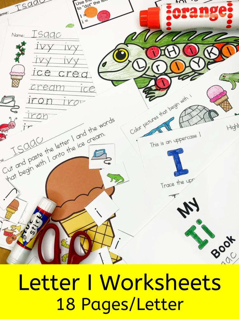 Letter I letter recognition worksheets for beginning sounds and lessons