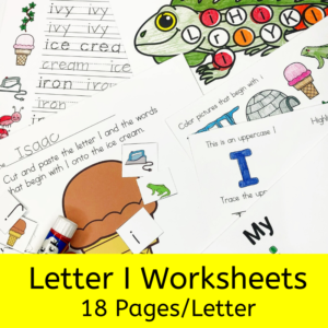 Letter I worksheets for beginning sounds and lessons