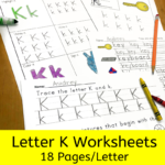 Letter K worksheets for beginning sounds and lessons