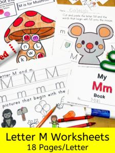 Letter M letter recognition worksheets for beginning sounds and lessons