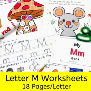 Letter M worksheets for beginning sounds and lessons