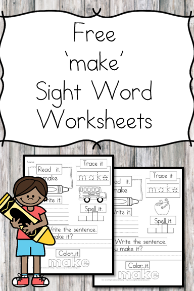 make Sight Word Worksheet -for preschool, kindergarten, or first grade - Build sight word fluency with these interactive sight word worksheet