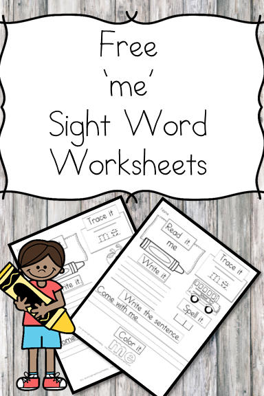 me Sight Word Worksheet -for preschool, kindergarten, or first grade - Build sight word fluency with these interactive sight word worksheets
