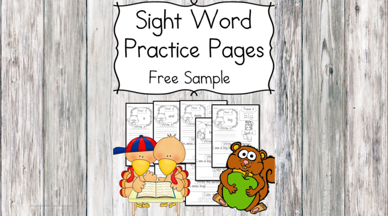 Fall Sight Word Practice Pages