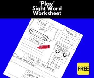 Play Sight Word Worksheet