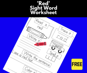 Red Sight Word Worksheet