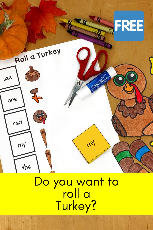 Roll a Turkey activity for Kindergarten