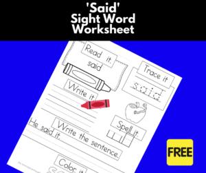 Said Sight Word Worksheet
