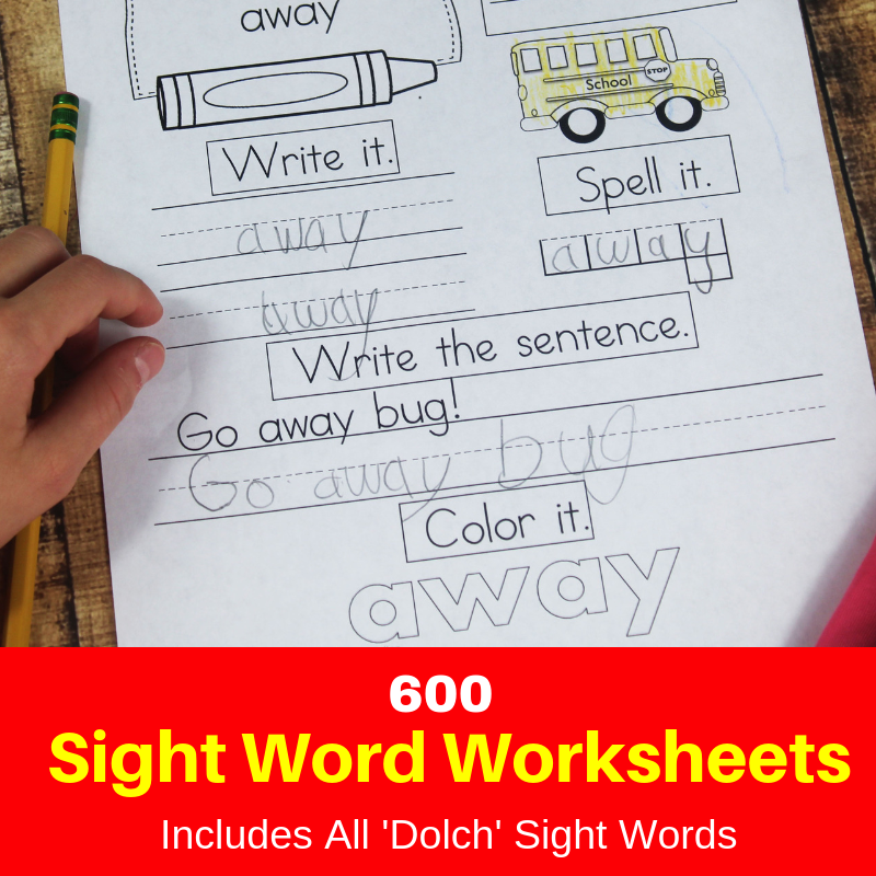 Sight Word Worksheet Pack
