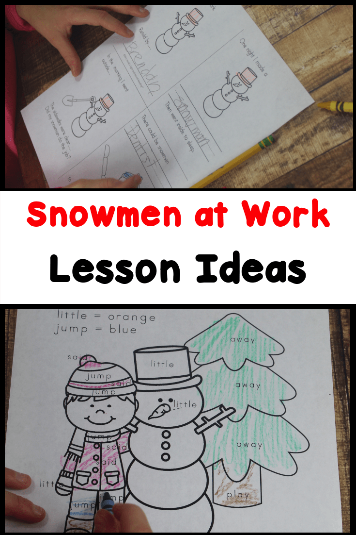Snowmen at Work activities for Kindergarten -fun winter book to read